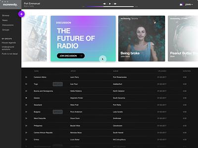 mcmmnity. concept app concept gradient share music community app