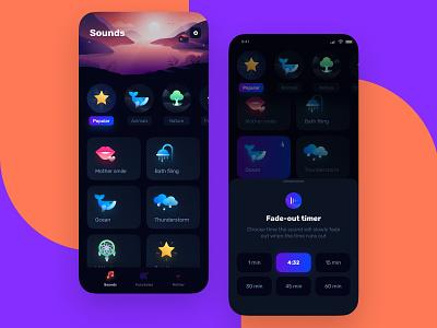 Sleeping app animation illustration app design ux design app uidesign ios ui mobile