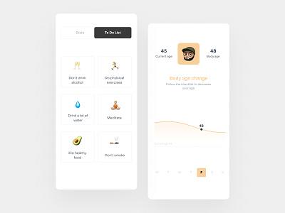 You body age app healthcare age fitness health app design ux design app uidesign ios ui mobile