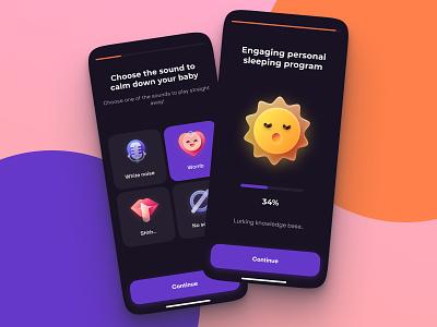 Baby sleep app typography concept app design ux design app uidesign ios ui mobile