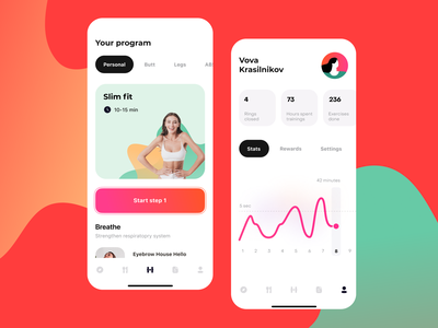 Fitness app concept animation app design ux design app uidesign ios ui mobile