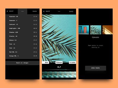 Cyberpic app interface editor photo ios mobile ui
