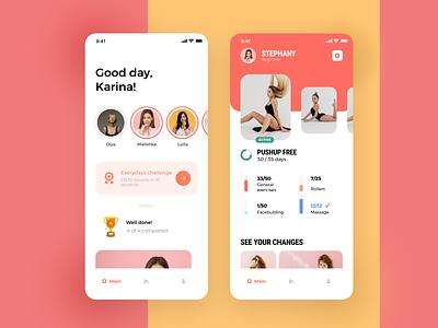Fitness app flat animation web app illustration ux ios design mobile ui