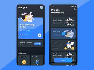 Patronus app meditation illustration animation app design ux design app uidesign ui ios mobile