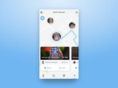 Map view concept for C2C app marketplace c2c concept ios app cards items map ux ui mobile