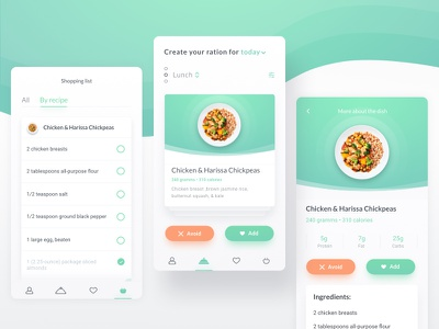 Nutrition Consultant app cards green health article meal food recipe app mobile ios