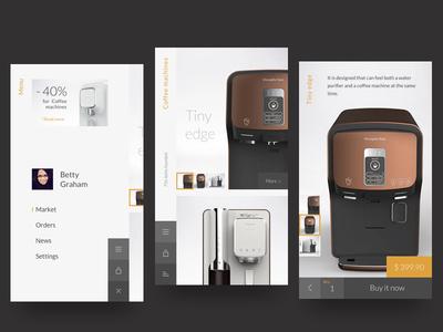 Bottom navigation exploration layout product white concept navigation ux ui app mobile store ecommerce exploration