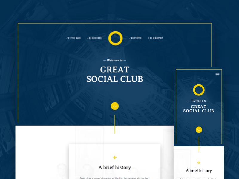 Social Club Website Redesign — WIP responsive club social clean minimal website