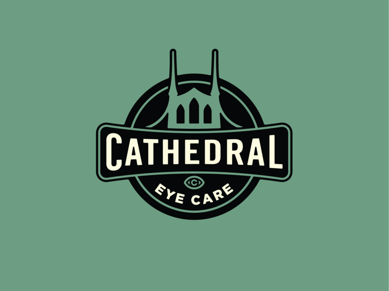 Cathedral Eye Care badge icon design vector branding logo
