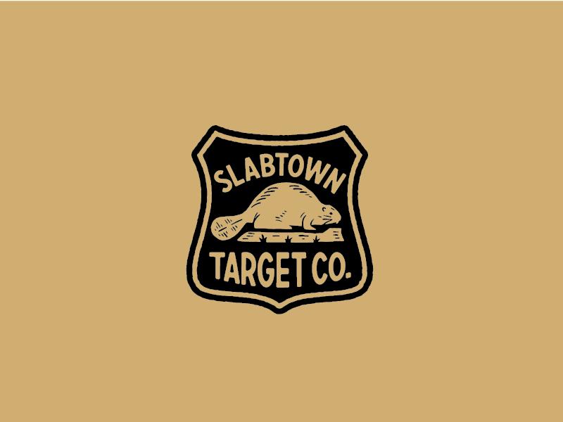 Slabtown Target Co. beaver lockup badge outdoors design branding logo illustration