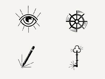 Drawicon Set 1 key eye helm wheel pencil hand drawn icon