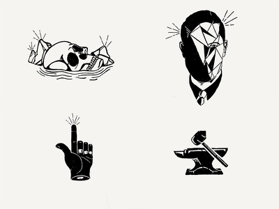 Drawicon Set 2 hammer face anvil touch hand skull pencil hand drawn icon