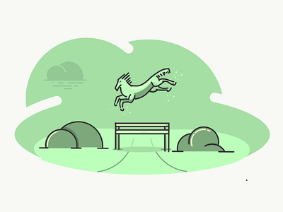 Stayble Success Illustration - WIP icon success stable jumping horse design illustration