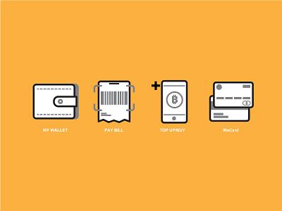 Re-design icon menu TrueMoney Wallet App  icon wallet topup phone card pay bill barcode scan