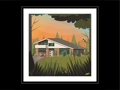 StoneHouse birds aliens car landscapes scenery house illustration design vector