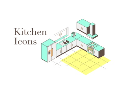 Kitchen Icons lineart yellow neon typogaphy kitchen design vector icons iconography