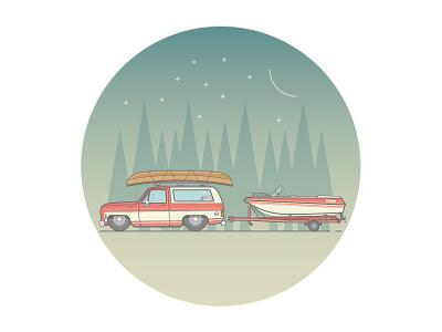 Chevrolet Blazer   illustration kayak wilderness adventure nature night stars moon boat camping blazer chevrolet