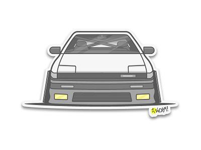 S12 Silvia  vector sticker lineart illustration icon car