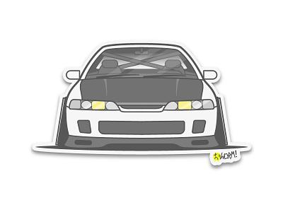 Dc2 Integra vector sticker lineart illustration icon car
