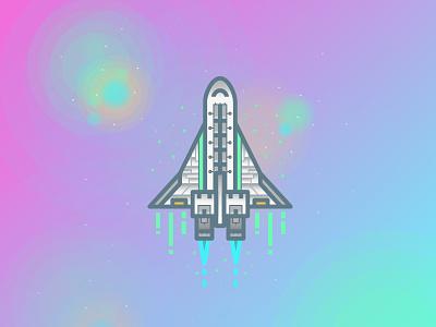 Interstellar Travel universe gradient lineart illustrtaion vector space rocket
