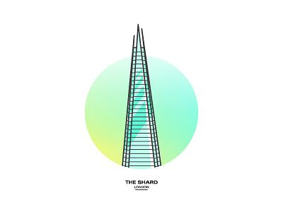 The Shard skyscraper city architecture icon gradient vector illustration lineart london