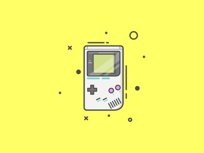 Gameboy classic yellow lineart icon retro gameboy