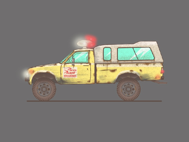 Pizza Planet toystory car neon illsutration vector truck pizza