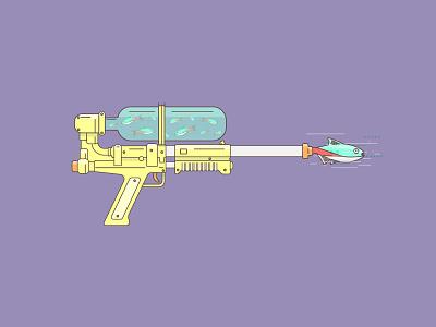 Fish Gun illustration icon lineart purple neon fish gun super soaker