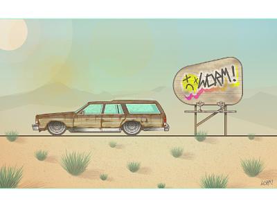 Death Awaits lineart ilustration vector rust yellow desert sky caprice chevrolet sun