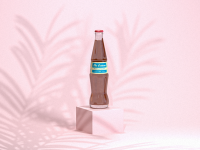 The Octane Soda flat corporate label bottle label glass bottle shadow pastel photography product clean octanerender octane cinema4d cinema 4d cinema 3d