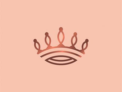 Virtue icon identity logo pink copper tiara vector crown