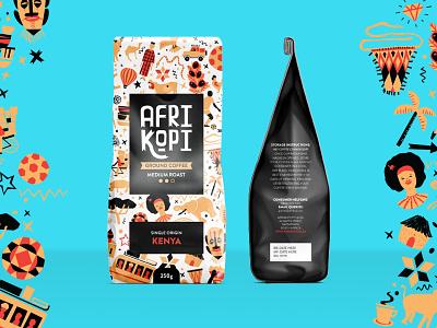 Afrikopi Coffee branding kenya logotype logo custom type type illustration packaging africa coffee
