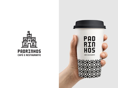 Padrinhos typography type custom type branding portugal castle cup coffee logo identity brand