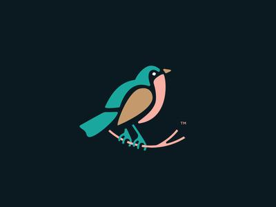 Bird Mark logo brand mark stencil vector icon bird