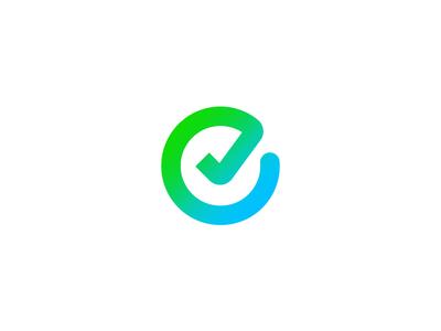 E Icon easy brand lettering custom type typography identity vector branding circle renew tick blue green symbol mark type e logo icon brandmark