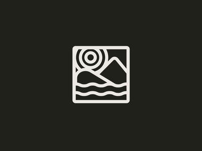 Sunset logo icon a day black and white river meeting summit mountain sunset simple lineart logo illustration icon