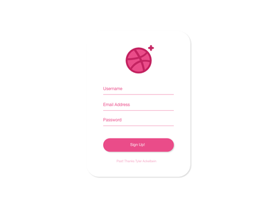 Sign Up adobe xd adobe illustrator sign up thanks tyler ackelbein daily ui 001 ui tyler mathew suggs first dribble shot