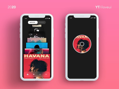 Music app - UI/UX Inspirations, Auto Animate interactiondesign interactions interactive prototype music player ui music player app music app interaction design interaction ui app ux