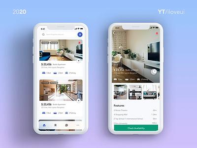Adobe xd UI Inspirations - iOS app Design, Prototype, Auto anima responsive interaction design real estate app real estate ui design interaction website app ux