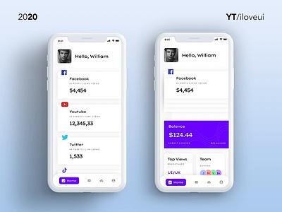 Social Analytics App Design & Animate | 3D Transform | UIUX Insp social media social media dashboard social media design socialmedia animation design interaction design interaction gradient ui app ux