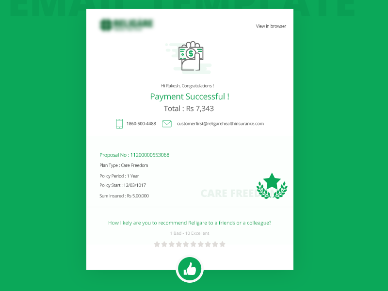 Email Template For Payment Summary By Sakin Kumar Dribbble Dribbble