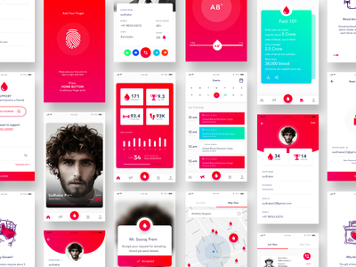 Blood Donating Mobile App Ui Ux red cards invite theme blood profile donate ux ui