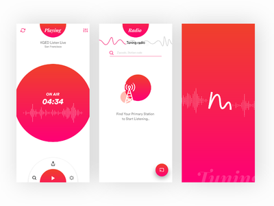 Online Radio Streaming App Ux filter gif wave tuning menu ui ux gradient radio app music