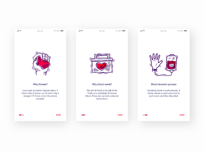 Onboarding Screens For Blood Donating App screen guide illustration ux ui onboard