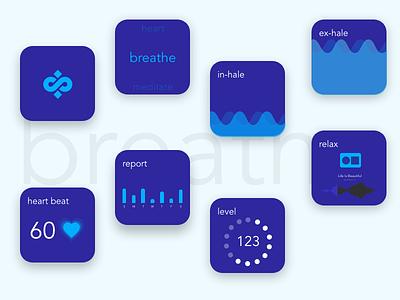 Meditation - Breathe Smart watch app UI/UX #Adobe Xd watches smart smartphone auto animate adobe xd wearable android wear apple watch app app design watch smart watch ux ui gradient app
