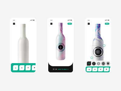 Bottle Graphic editing mobile app UI UX motion label mockup labeldesign graphicdesign editing app editing ecommerce bottle animation microinteraction interaction mobile app gradient ui app ux