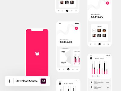 Wallet Mobile App UI card design barchart chart website card wallet app wallet page ui app ux