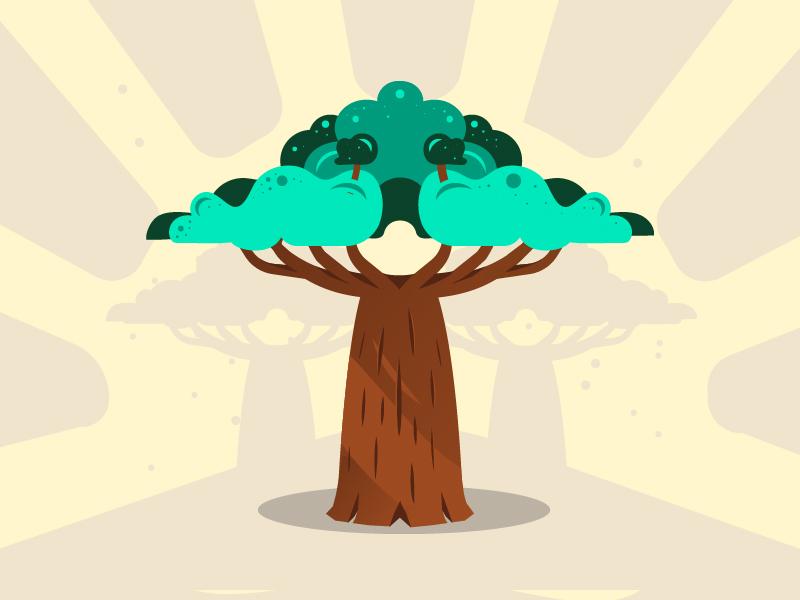 Baobab - Family Tree Project startup assoconnect illustrator flatdesign tree baobab