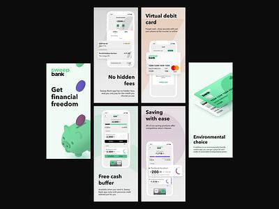 Sweep Bank App Store Reel ios app design mobile app design ui design finance app mobile wallet creditcard savings app credit bankingapp fintech financial app
