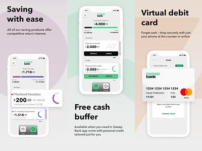 Sweep Bank close-up shots ios mobile app uidesign bank app sweep banking app financial app fintech